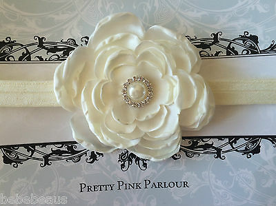 Large Flower Christening Baby Headband Jewel Button Photo Prop Girl Hairband
