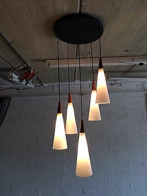 great danish modern chandelier with glass shades mid century teak lamp