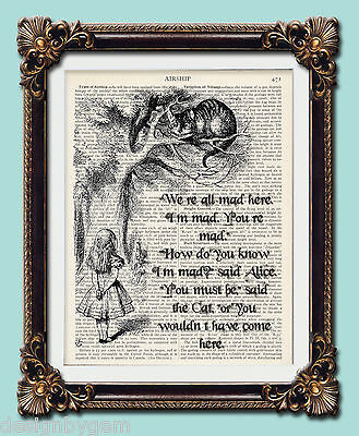 Alice In Wonderland Cheshire cat - were all mad - upcycled art print