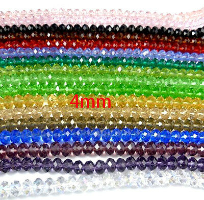 200 Piece Crystal Glass Faceted Quartz Rondelle Spacer Loose  Beads 4-8mm