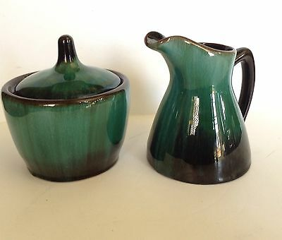 Blue Mountain Art Pottery Covered Sugar Creamer Set