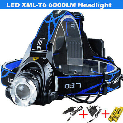 LED Headlight Torch 6000Lm XM-L T6  Headlamp Head Light Lamp 18650 Charger
