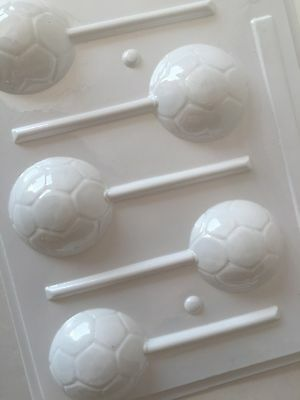 "ROUND Soccer Ball Mold HARD CANDY  2"" CHOCOLATE ISOMALT MOLD Lollipop"