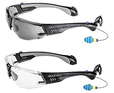 ReadyMax Construction Outdoor Safety Glasses with Earplugs Eye & Ear Protection