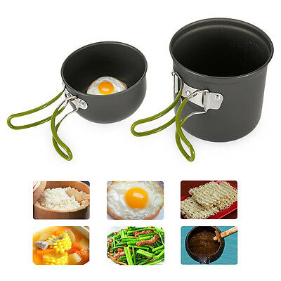 Camping Hiking Backpacking Picnic Cookware Cook Cooking Pot Bowl Set Aluminum