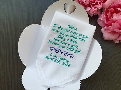 Mother Of The Bride From Daughter -Wedding Handkerchief On My Wedding Day/1292