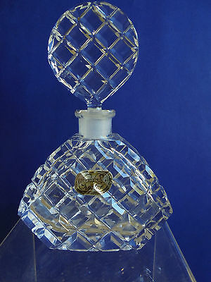 Vintage Bohemia Czech Hand Cut Crystal Perfume Bottle Round Shaped Stopper