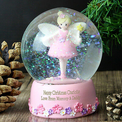 Personalised Message Christmas Snow Globe Pink Fairy Design - Girls, Daughter