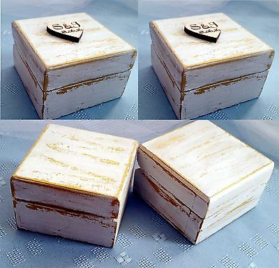 Pair of small white & gold wooden wedding ring box handmade personalised
