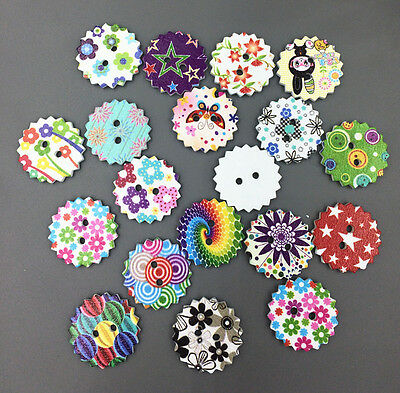 100pcs multicolor gear Wooden Buttons Fit Sewing Mix Lots scrapbook 23mm