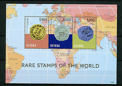 Guyana 2014 MNH Rare Stamps of World 3v M/S Cotton Reels First Postage Stamps