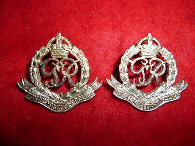 The Royal Military Police George VI KC Officer's Silver Collar Badge Pair