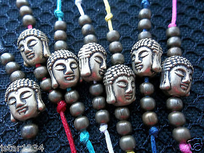 String tie on bracelet BUDDHA and beads world love karmastring karma surfer