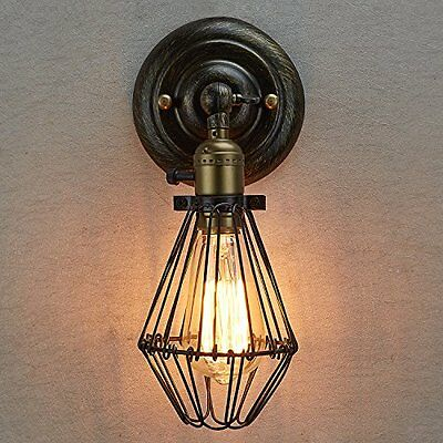 Ecopower Vintage Style Industrial Opening and Closing Light Wall Sconce Cage Lam