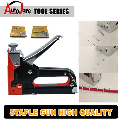 HEAVY DUTY STAPLE GUN TACKER UPHOLSTERY STAPLER + 900 Nails Fastener Tool Kit