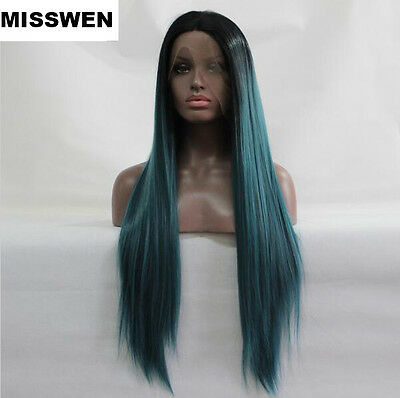 Heat resistant Lace front wig Synthetic hair Straight Ombre color 1B/Teal blue