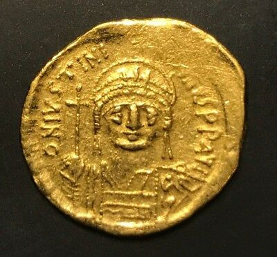 Ancient Byzantine Coin Justinian I. 527-565 A.d.  Solidus Gold!