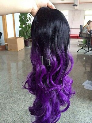 Heat resistant Lace front wig Synthetic hair Body wavy Ombre Black and Purple