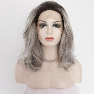 "14"" Heat resistant Lace front wig Synthetic hair Natural wavy Ombre 1B/Gray"