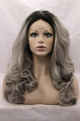 Heat resistant Lace front wig Synthetic hair Body wavy Ombre color 1B/Gray
