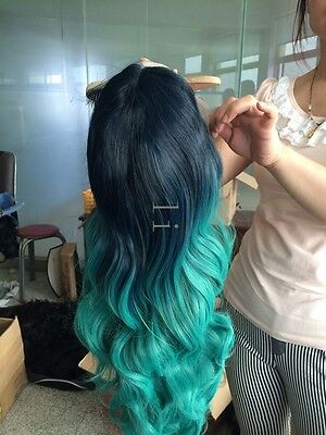 Heat resistant Lace front wig Synthetic hair Body wavy Ombre 1B/Blue/Turquoise