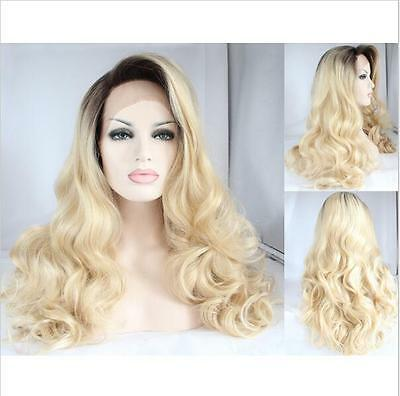 Heat resistant Lace front wig Synthetic hair Body wavy Ombre color 1B/613