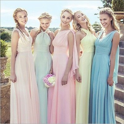New Long Chiffon Bridesmaid Formal Ball Party Cocktail Prom Convertible Dresses