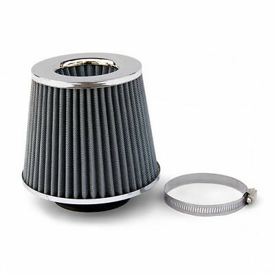 Universal Silver Gray Chrome Car Air Filter Induction Kit Sports Mesh Cone