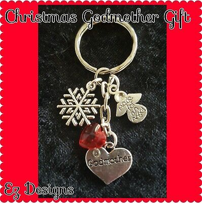 ANGEL Snowflake RED heart GODMOTHER KEYRING💖Xmas Gift  Keepsake Freepost&Bag