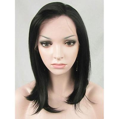 "14"" Heat resistant Lace front wig Synthetic hair Bob straight  Black color 1B"