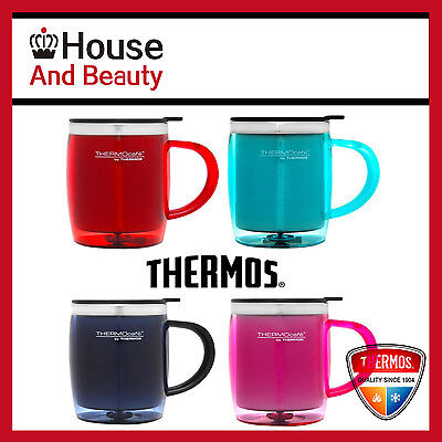 NEW Thermos Plastic Outer Desk Mug 450 ml S/Steel Insulated Interior, Coloured