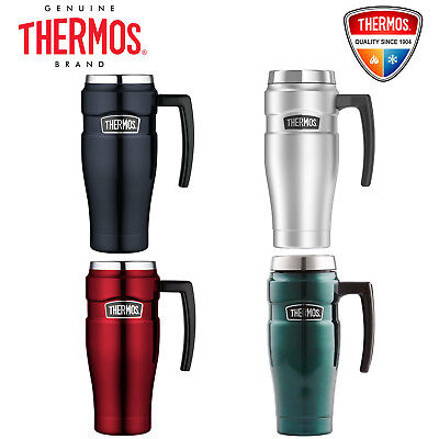 Thermos STAINLESS STEEL VACUUM Insulated Travel Mug with Handle 470ml Blue Red
