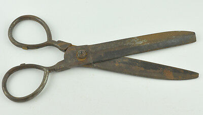antique 1906 hand wrought iron scissors 19th century original vtg HUGE-13.5""