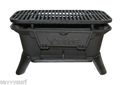 Cast Iron BBQ Fire Pit Cast Iron Barbecue Camping Cooker Fire Bowl with Grill