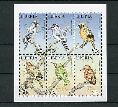 Liberia 1999 MNH World of Birds 6v M/S Sparrow Grosbeak Piculet Weaver Stamps