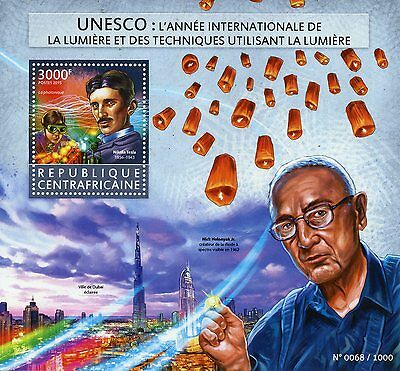 Central African Rep 2015 MNH UNESCO Int Year of Light 1v S/S Nikola Tesla Stamps