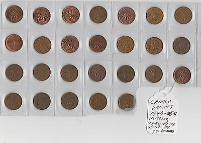 29x Canada 1 One Cent Penny Coin 1940 - 1974 Coins Pennies Canadian Centennial