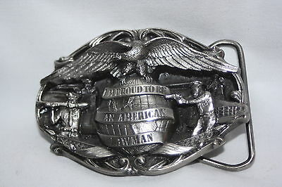 Bergamot Brass Works #Q42 Pewter 1985 Proud To Be American Lawman Belt Buckle