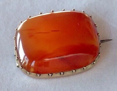 Antique 9Ct Gold & Carnelian Agate Brooch