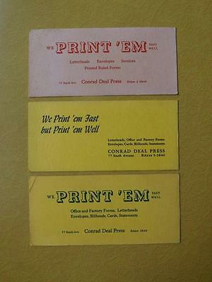 Ink Blotters Lot Of 3 Conrad Deal Press Print Em Office Stationery Company