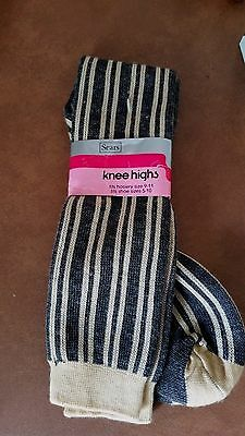 Vintage 1970's SEARS Knee Highs Striped School Girl Socks NWT
