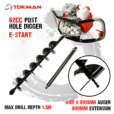 New TDKMAN 62cc Petrol Post Hole Digger Earth Auger 80mm Drill Fence Borer Bits