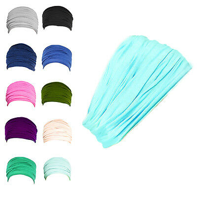 12Colors Wide Stretch Sports Yoga Headband Turban Elastic Hair Band Headwrap