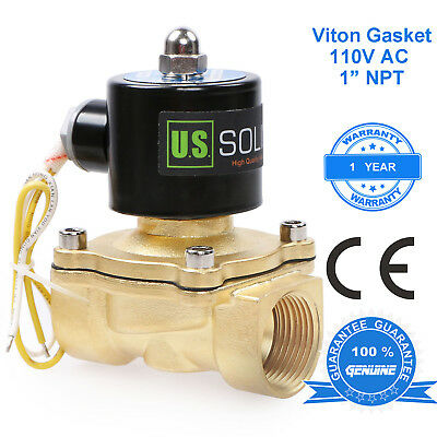 """U.S. Solid 1"""" Brass Electric Solenoid Valve 110 V AC Normally Closed Air Water"""
