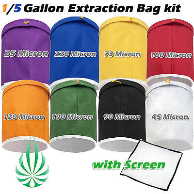Bubble Hash 1/5 Gallon Bag Filtration Set Herbal Extraction Kit Hydroponics