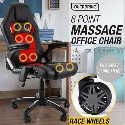 PU Leather Deluxe Executive 8 Point Massage Racing Office Chair Red Faux Leathe