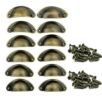 24pcs Antique Shell Pull Handles Cupboard Door Kitchen Cabinet Drawer Knobs