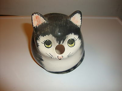Babbacoombe  Pottery Black & White Cat  String Holder Very Good  Condition