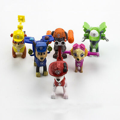 6pcs Paw Patrol Action Pack Pup Dog Backpack Projectile Toys Figure