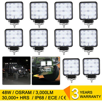 10X 48W Square LED Work Light Flood Lamp Offroad Boat Truck Tractor Bar 12v 4WD